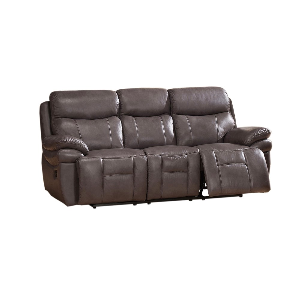 Summerlands top grain leather reclining sofa in smoke grey Best loveseats