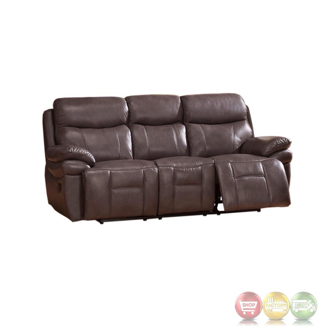 Summerlands lay flat 3pc reclining sofa set in genuine for Gray leather sofa set