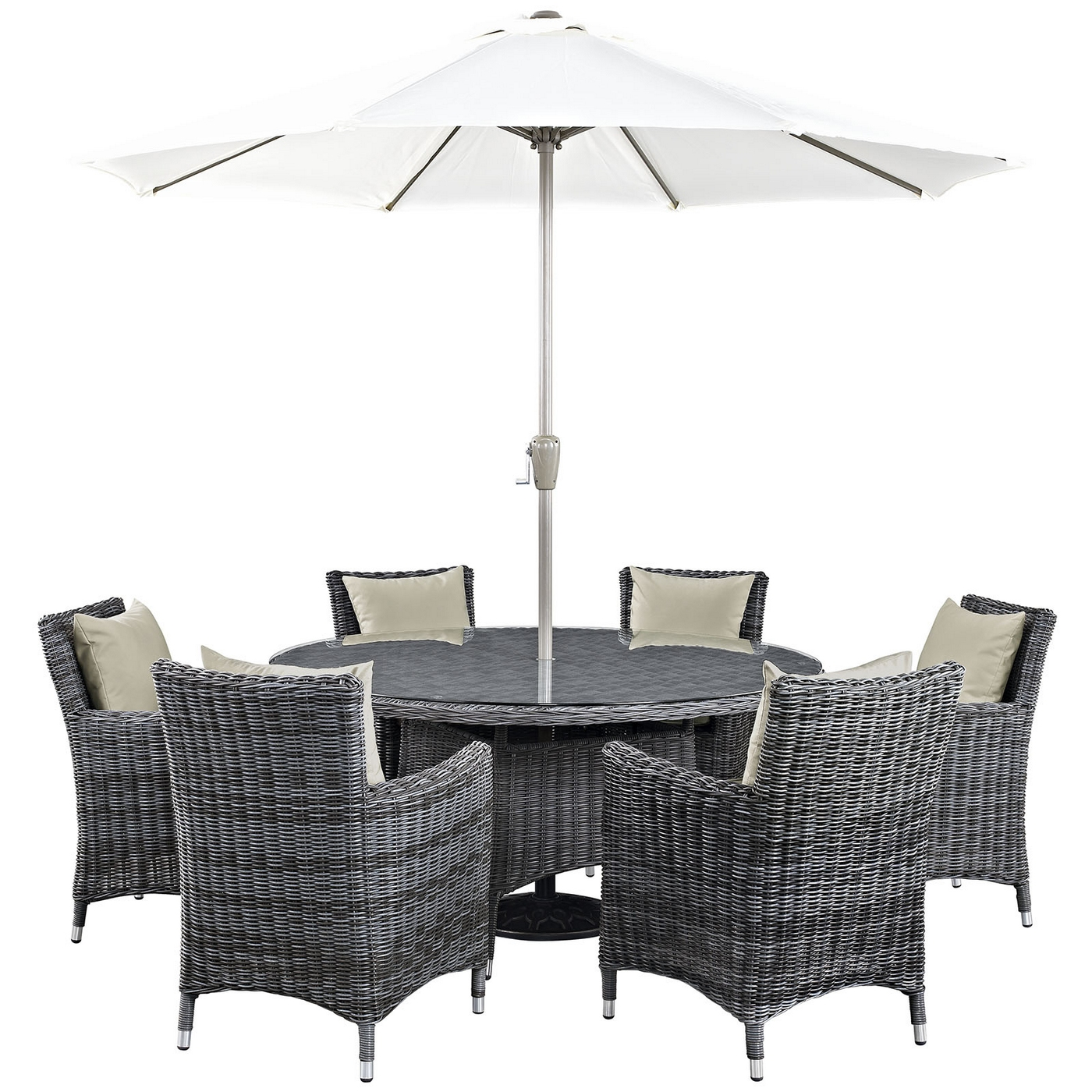 Summon Casual 8 Piece Outdoor Patio Sunbrella Round Dining T