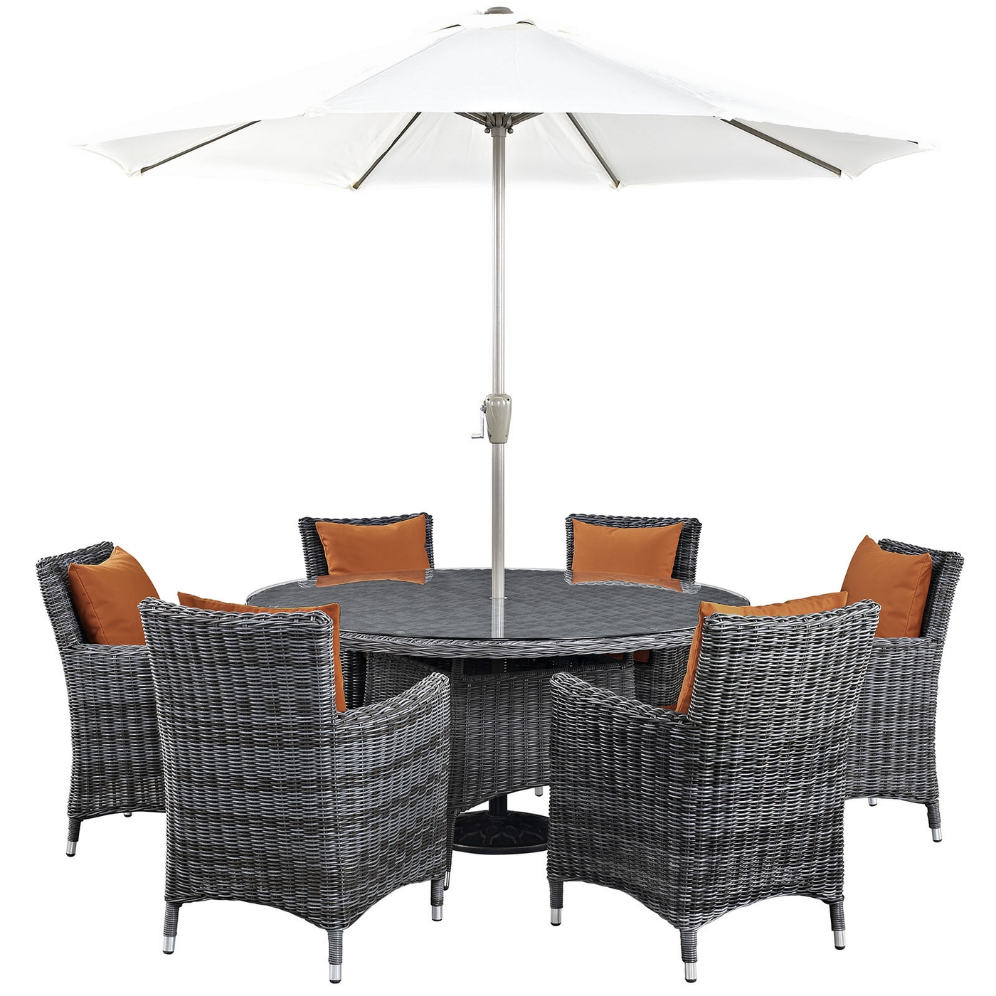 Details About New Summon Casual 8 Piece Outdoor Patio Sunbrella Round Dining Table Set Canvas