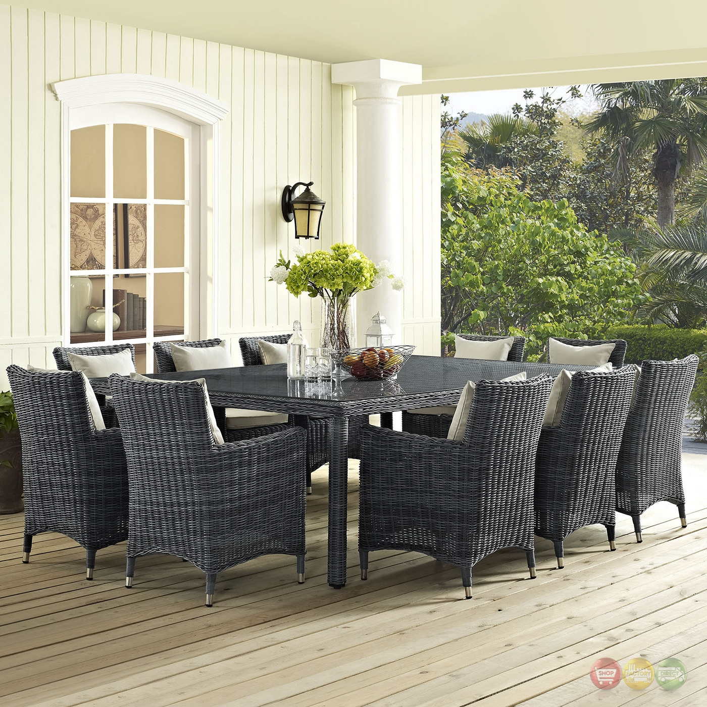 Summon contemporary 11pc outdoor patio sunbrella 91 for Canvas dining