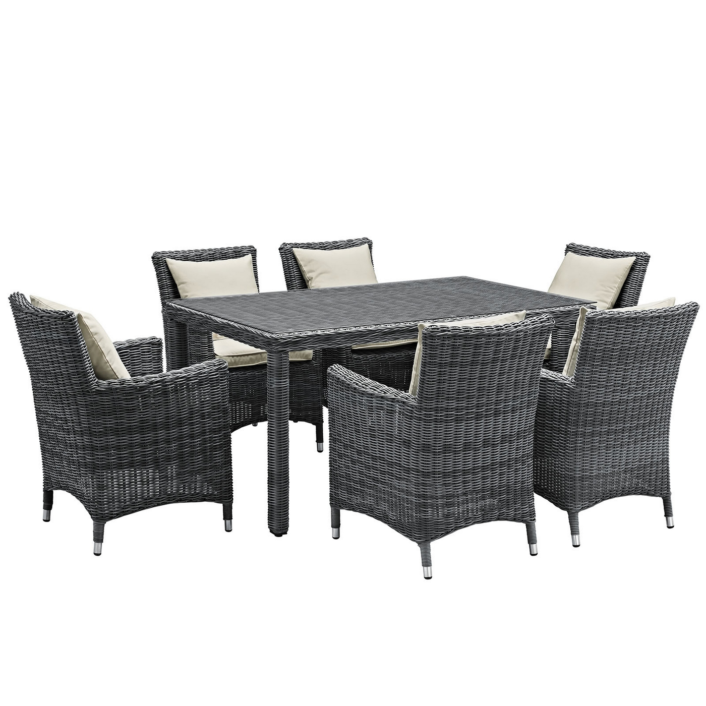 Summon Modern 7 Piece Outdoor Patio Sunbrella 60dining Set Antique