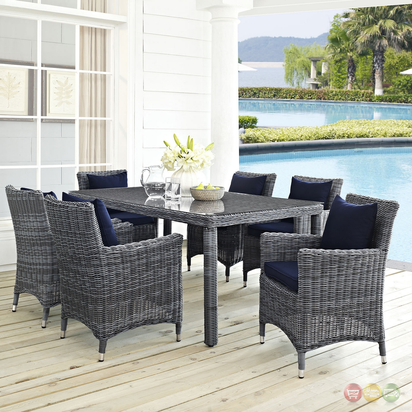 Summon contemporary 7pc outdoor patio sunbrella 70 dining for Canvas dining