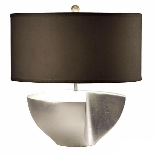 Sunder Silver Base Amp Black Linen Shade Table Lamp 1010384
