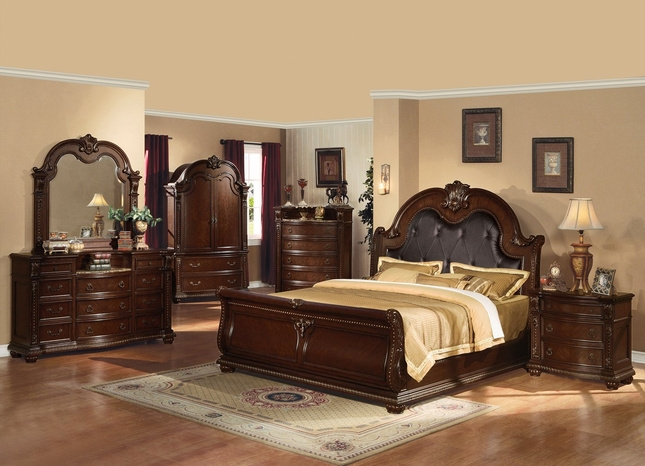 Sunderland 4 Pc Cherry Finished King Sleigh Bed Set W Espresso Faux Leather