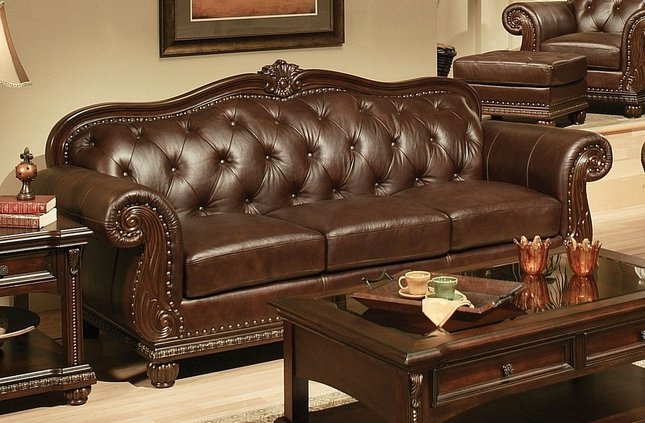 Tufted Leather Sofa In Espresso