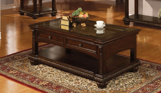 Sunderland Classic Glass Top 2 Drawer Storage Coffee Table