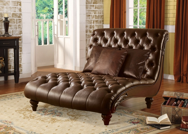 Sunderland Traditional Brown Top Grain Button Tufted Leather Chaise : tufted leather chaise - Sectionals, Sofas & Couches