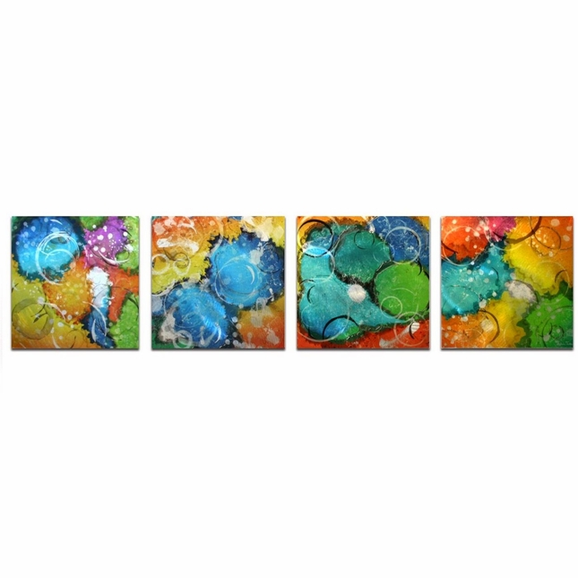 Sunny Days Colorful Neon Paint Splatter Metal Modern Art L0042