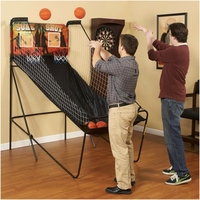 Sure Shot 2-player Dual Electronic Basketball Game In Black & Orange