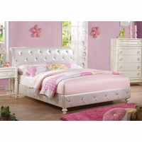 Susana Kids Pearl White Full Bed Upholstered in Crystal Tufted Faux Leather