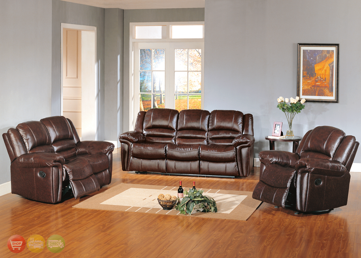 Sutton brown leather reclining sofa love seat living for Family room sofa sets