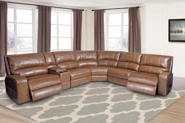 Swift Contemporary Bourbon Leather Modular Sectional Sofa w/ Powered Headrest