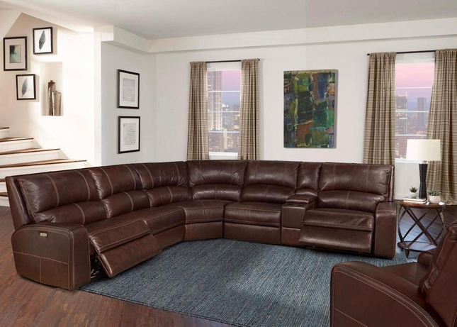 Swift Contemporary Clydsdale Leather Modular Sectional Sofa w/ Powered Headrest