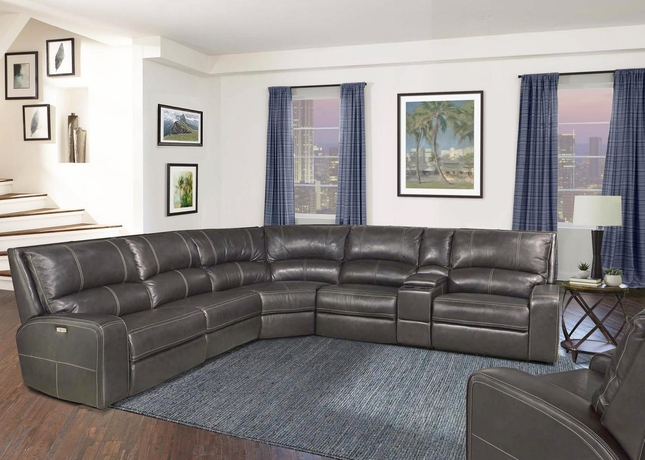 Swift Twilight Modular Leather Sectional Sofa w/ Powered Headrest & Armless Recliner