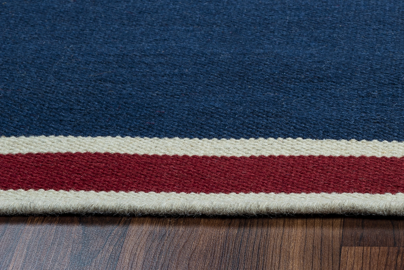 Swing Basic Stripes Wool Area Rug In Navy Burgundy Off