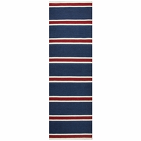 """Swing Soft New Zealand Wool Runner Area Rug 2'6""""x 8' Navy Blue Red White Stripes"""