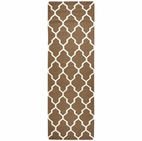 """Home Swing Soft New Zealand Wool Runner Area Rug 2'6""""x 8'Brown Off White Trellis"""