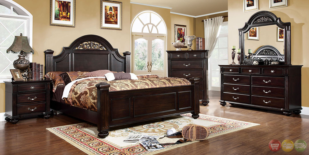 Syracuse Traditional Dark Walnut Bedroom Set With Sturdy Fluted Bed Posts Cm7129