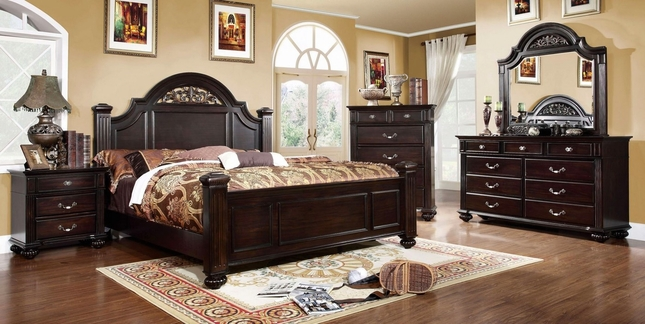 Syracuse Traditional Dark Walnut Bedroom Set With Sturdy Fluted Bed Posts