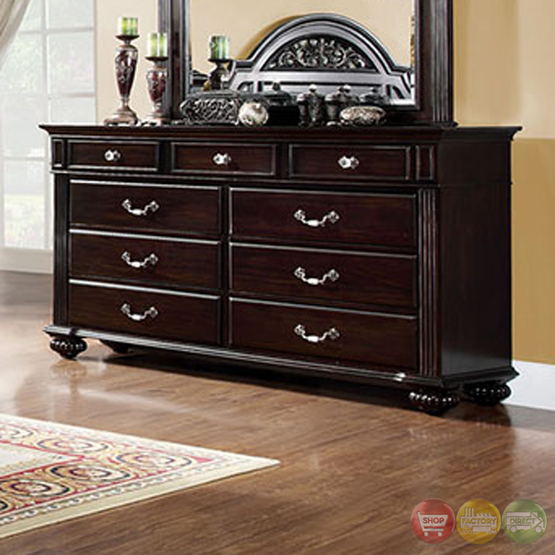 Syracuse traditional dark walnut bedroom set with sturdy for Walnut bedroom furniture
