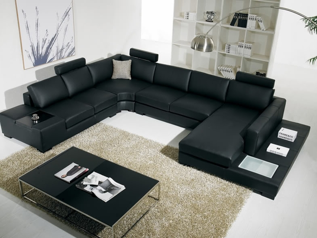 T-35 Large U Shaped Modern Black Leather Sectional Sofa with Lights : u sectional sofas - Sectionals, Sofas & Couches