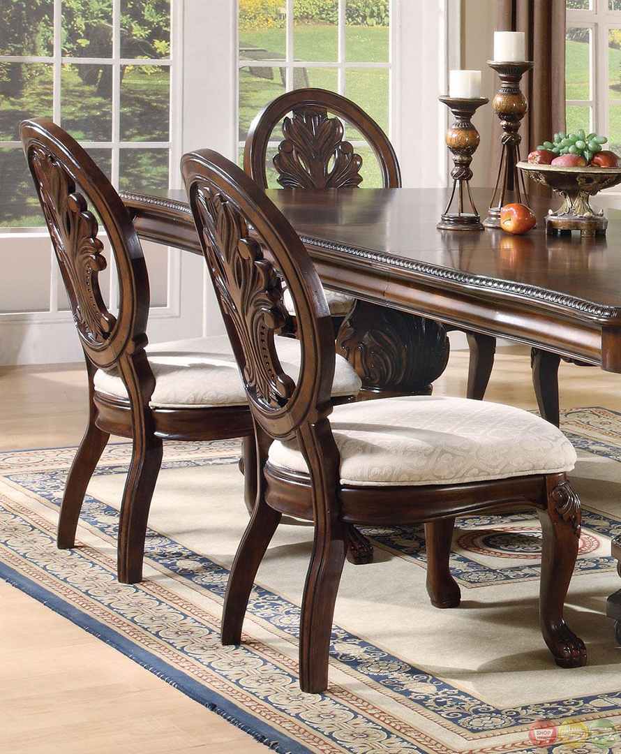 Vendome Traditional Formal Dining Room Cherry Finish: Tabitha Dark Cherry Finish Formal Dining Room Set