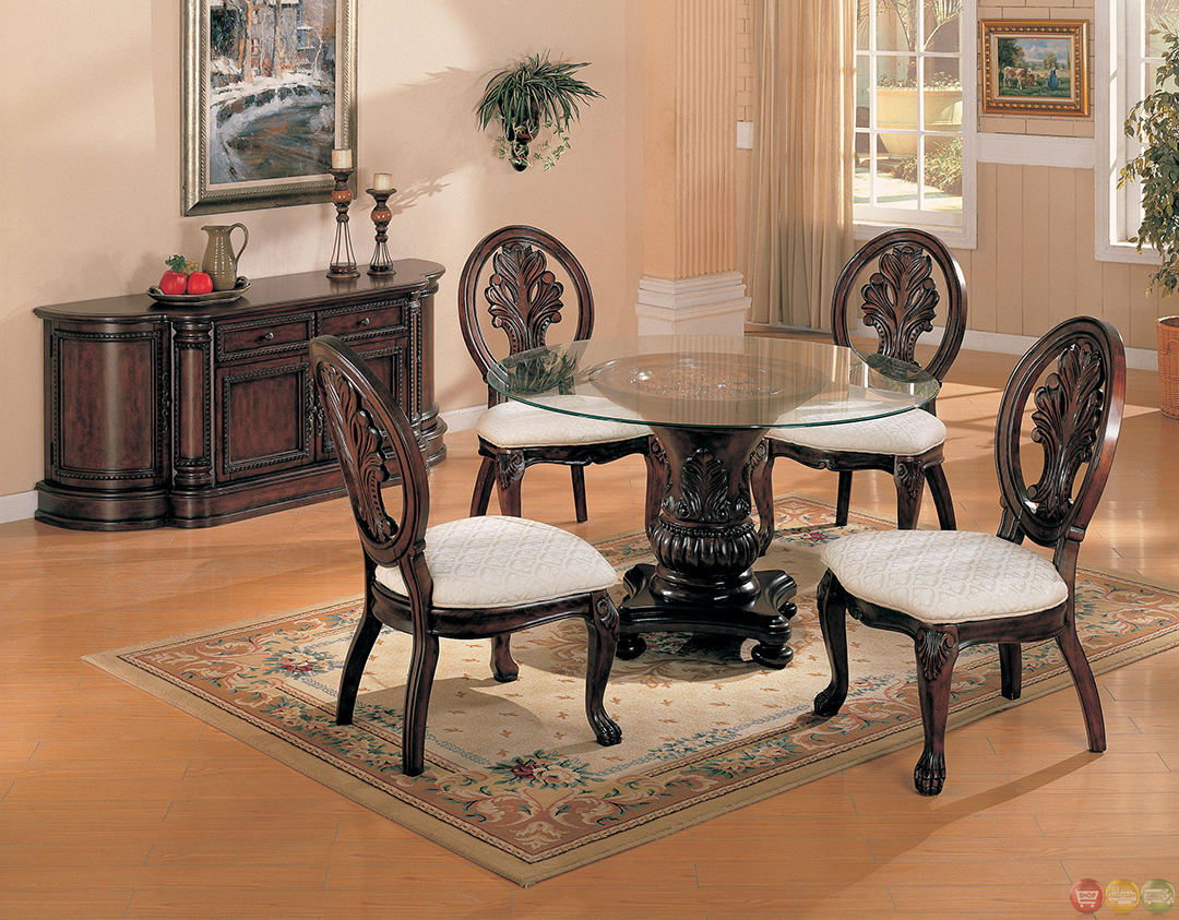 traditional dining room set | Tabitha Dark Cherry Traditional 5 Piece Dining Room Set