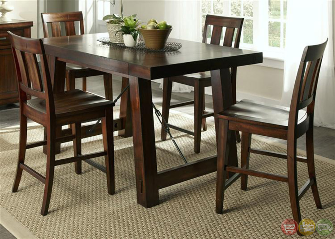 Tahoe mahogany finish counter height dining table set for Dining table set