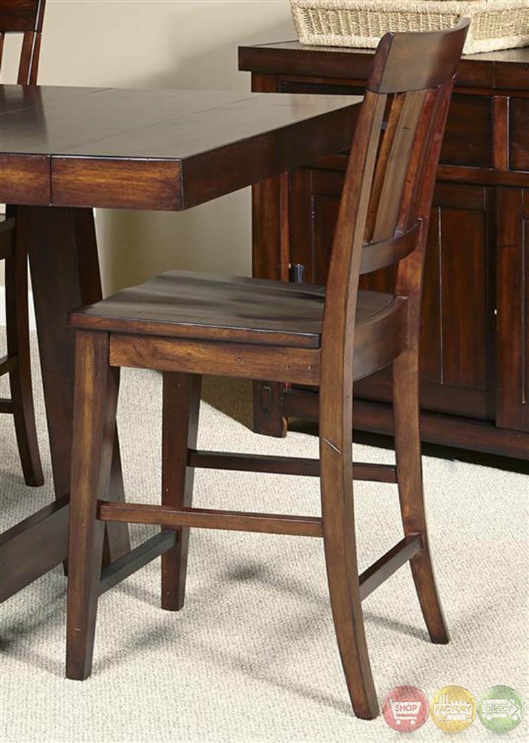 Tahoe mahogany finish counter height dining table set for Dining table finish