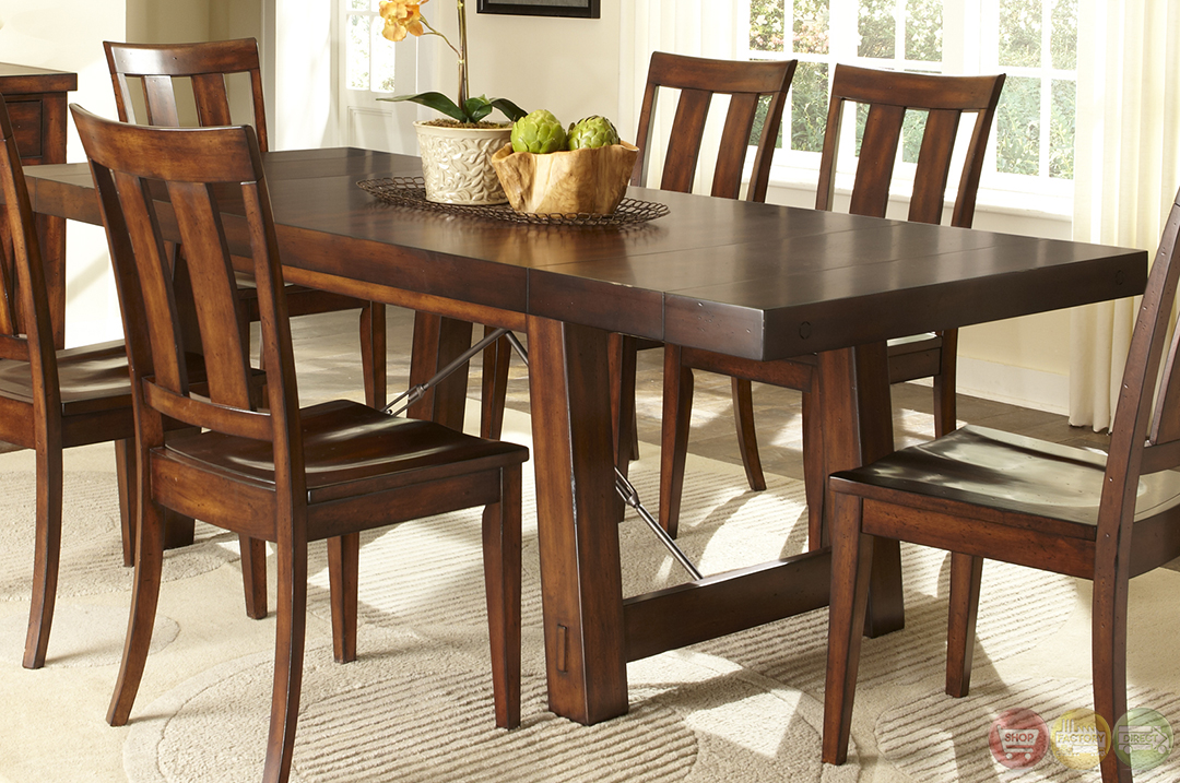Tahoe rustic style mahogany finish dining room set for Rustic dining set