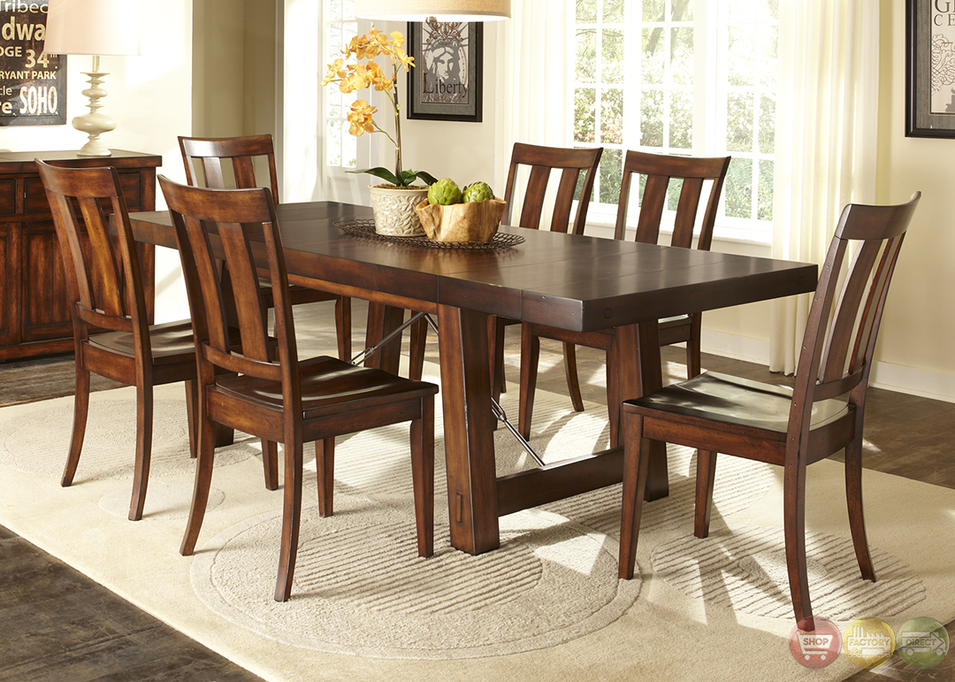 Tahoe rustic style mahogany finish dining room set for Dining room sets for 4