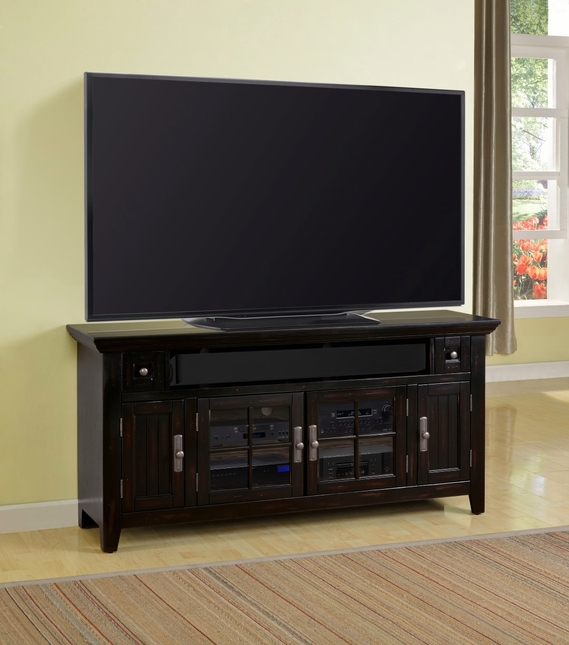 Tahoe Traditional 62 in. TV Console in Vintage Burnished Black w/ lattice Doors