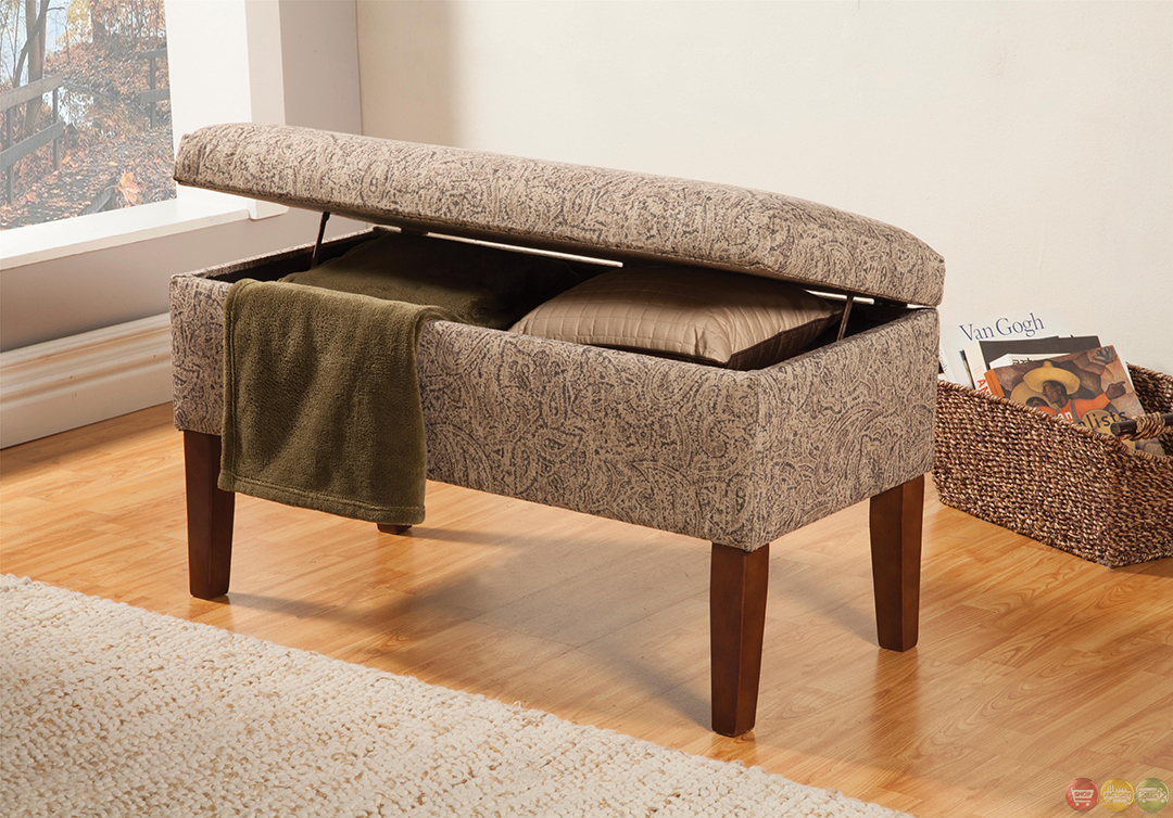 Tan Grey Fabric Upholstery Leaf Pattern Storage Bench