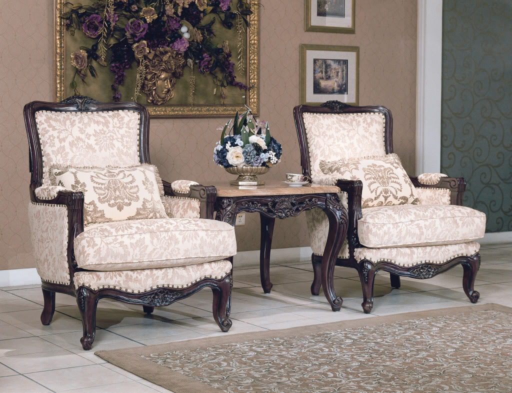 Tanner traditional luxury formal living room furniture set for Traditional living room furniture