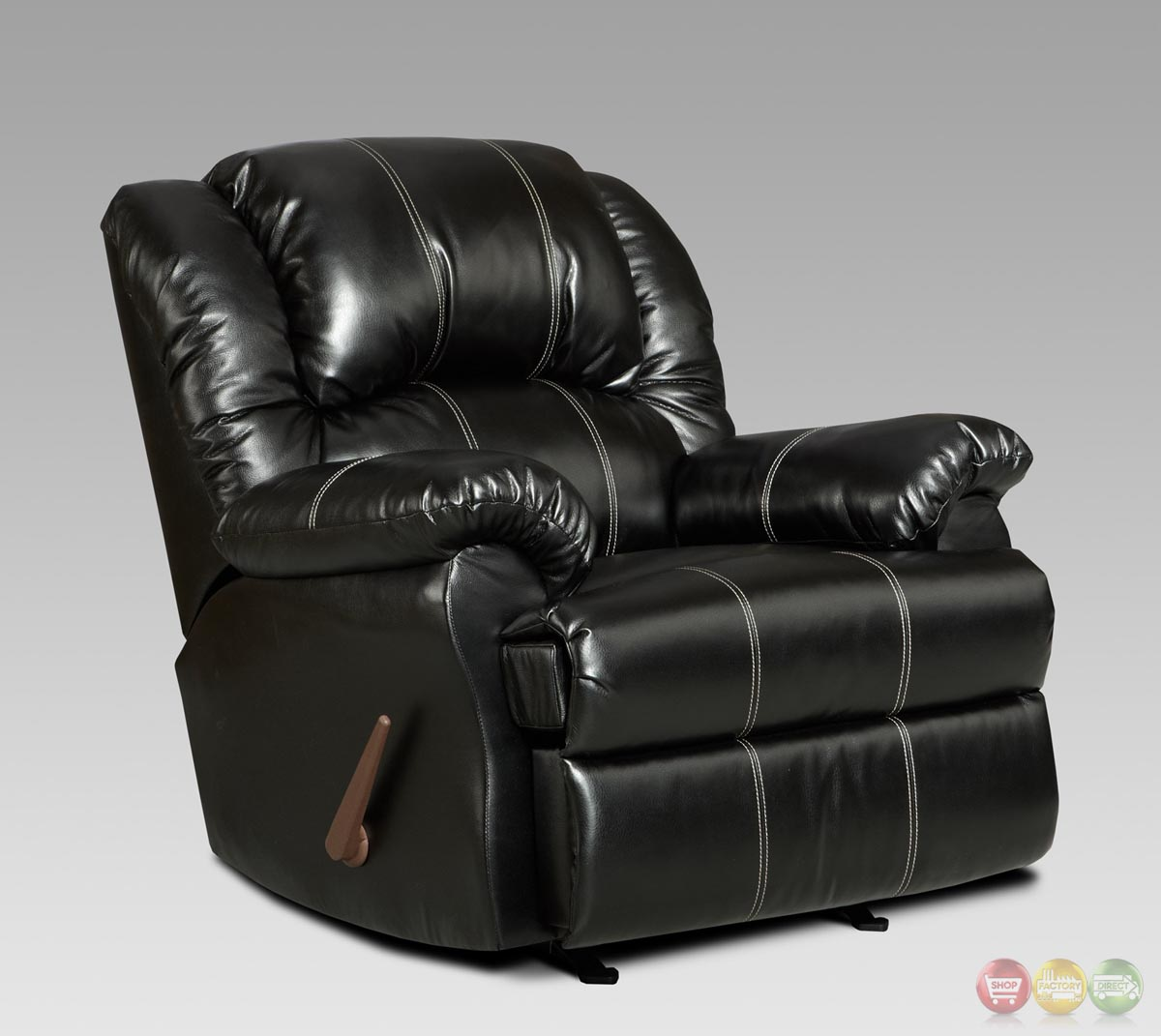 Taos Black Bonded Leather Rocker Recliner Casual Reclining