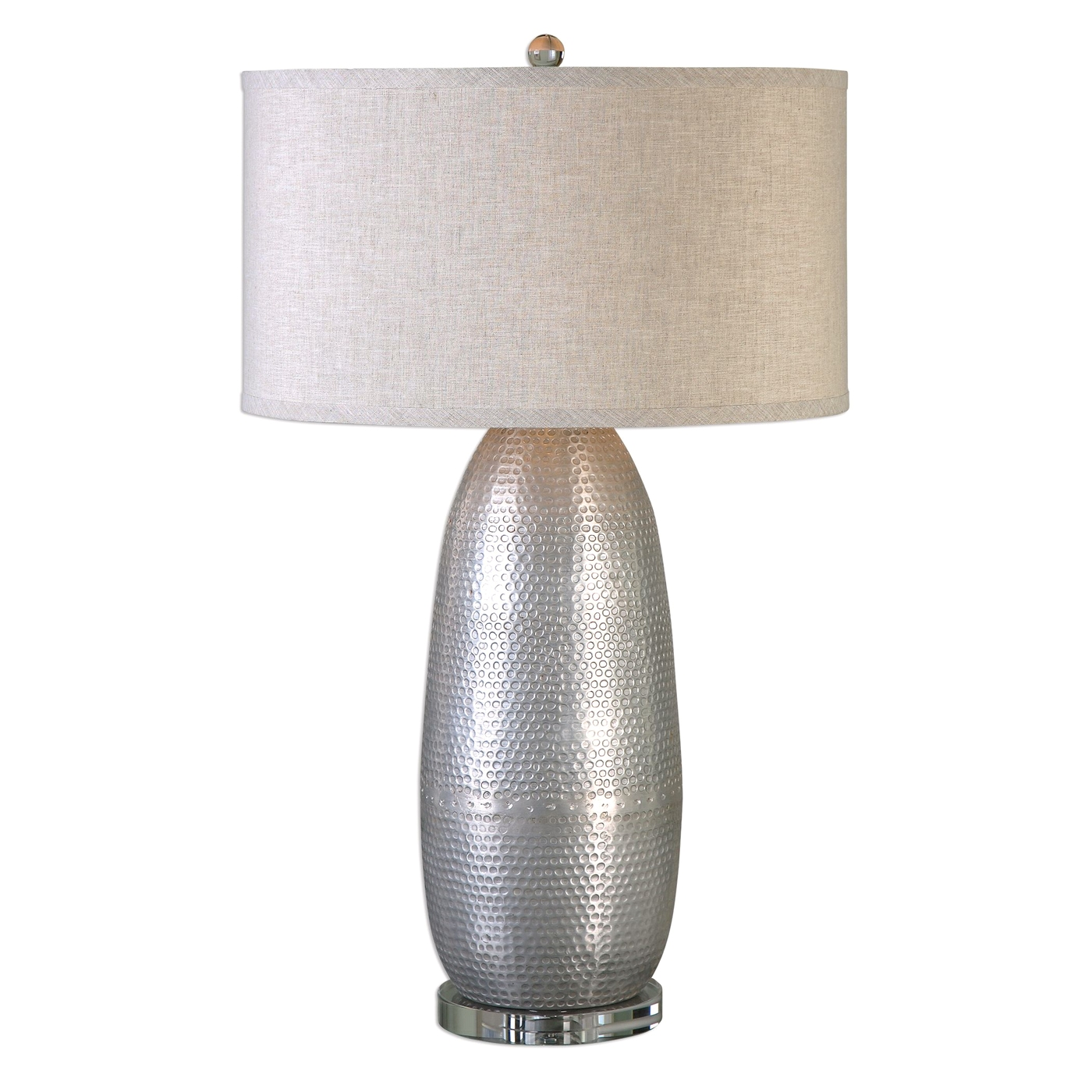 Tartaro Hammered Iron Table Lamp In Industrial Silver With