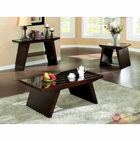 Tavius Contemporary Walnut Accent Tables Set with Glass Top CM4313