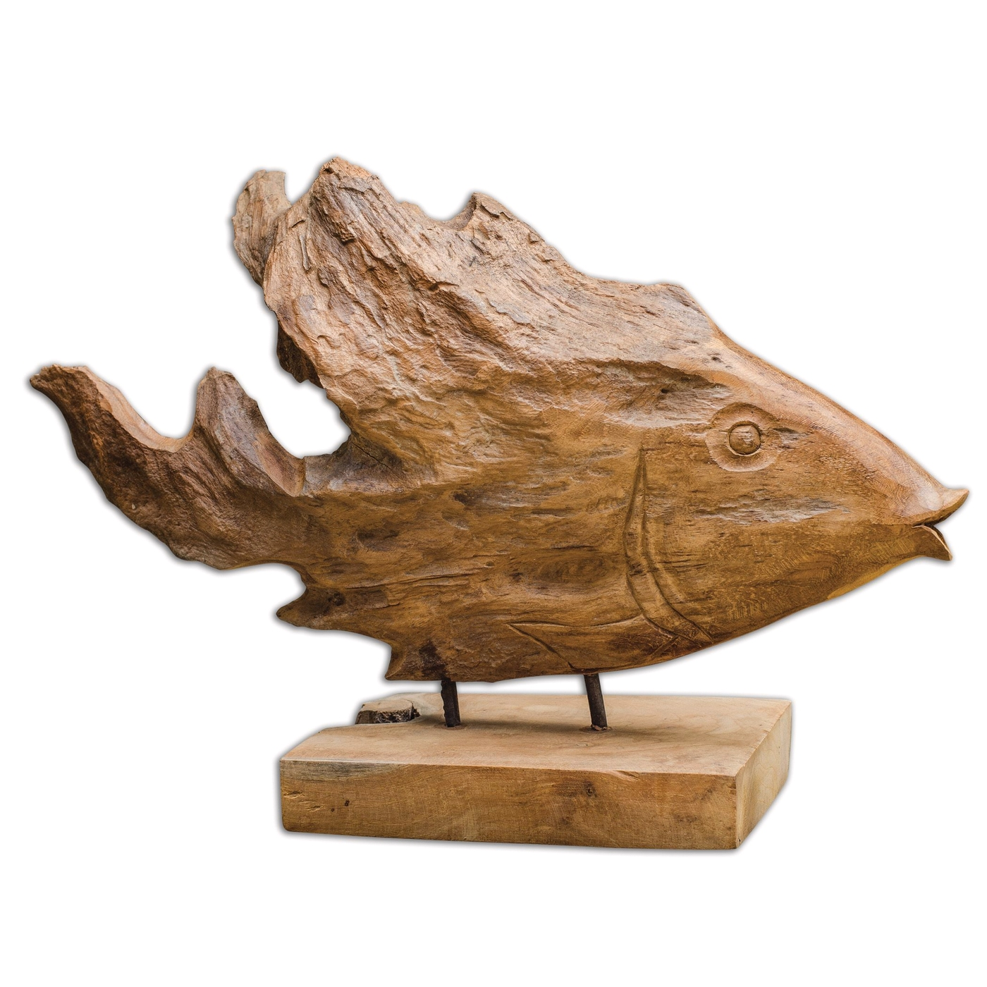 Teak country natural wood sculpture with