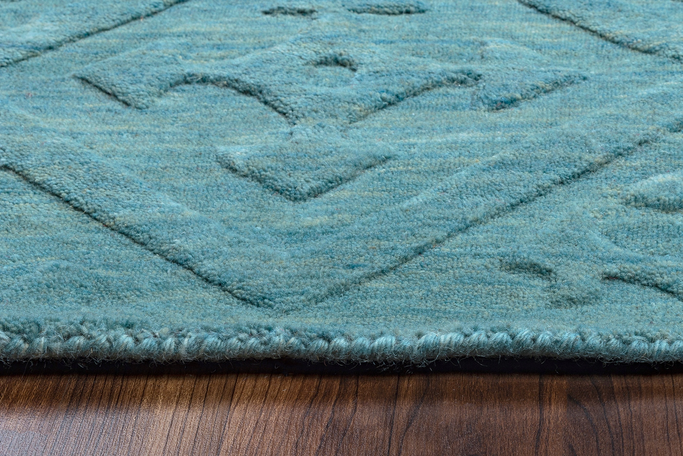 Technique Faded Diamond Pattern Wool Area Rug In Blue 3 X 5
