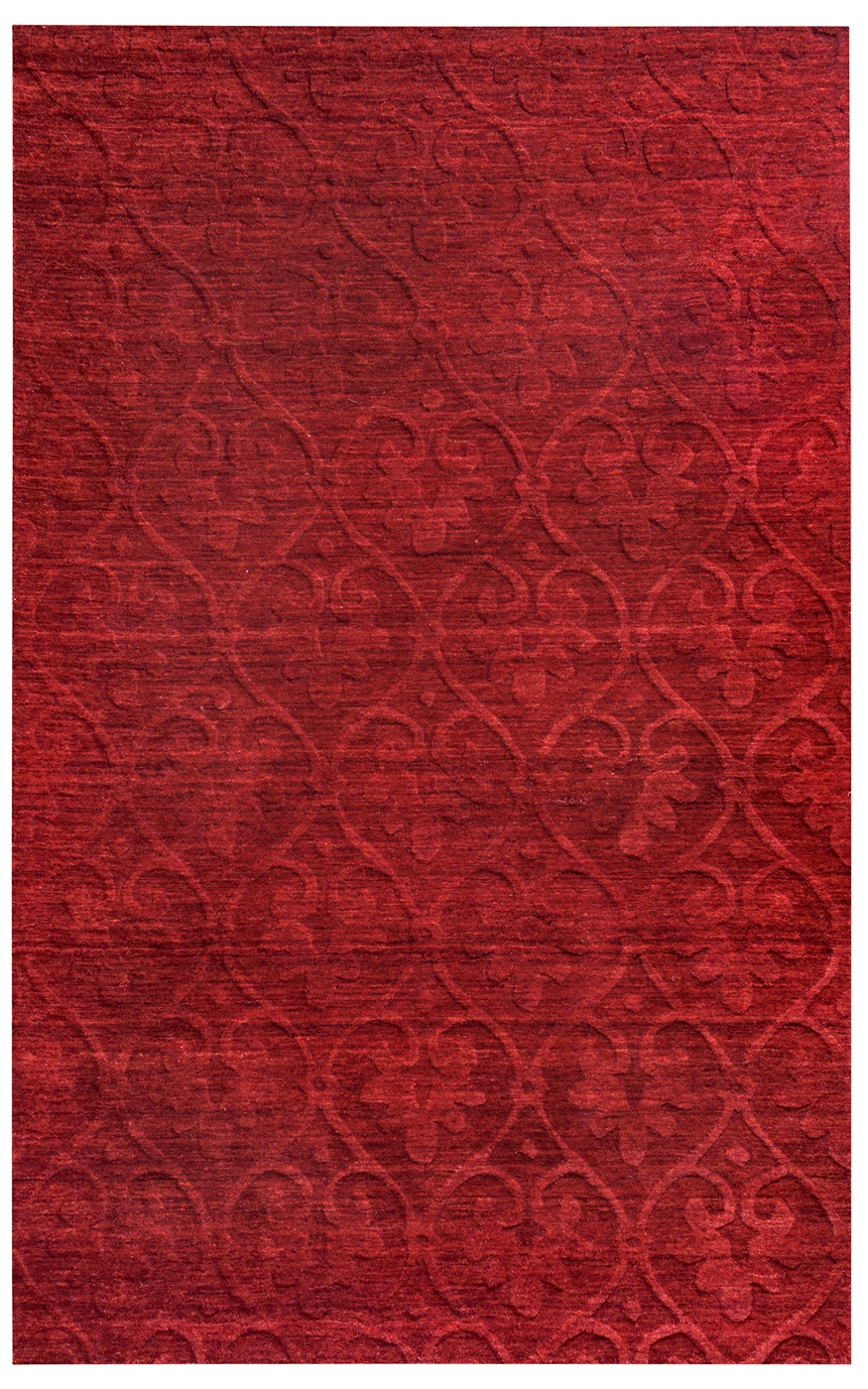 Technique Faded Floral Trellis Wool Area Rug In Burgundy