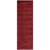 """Rizzy Home Technique Wool Rectangular Runner Area Rug 2'6""""x 8'Burgundy Red Solid"""