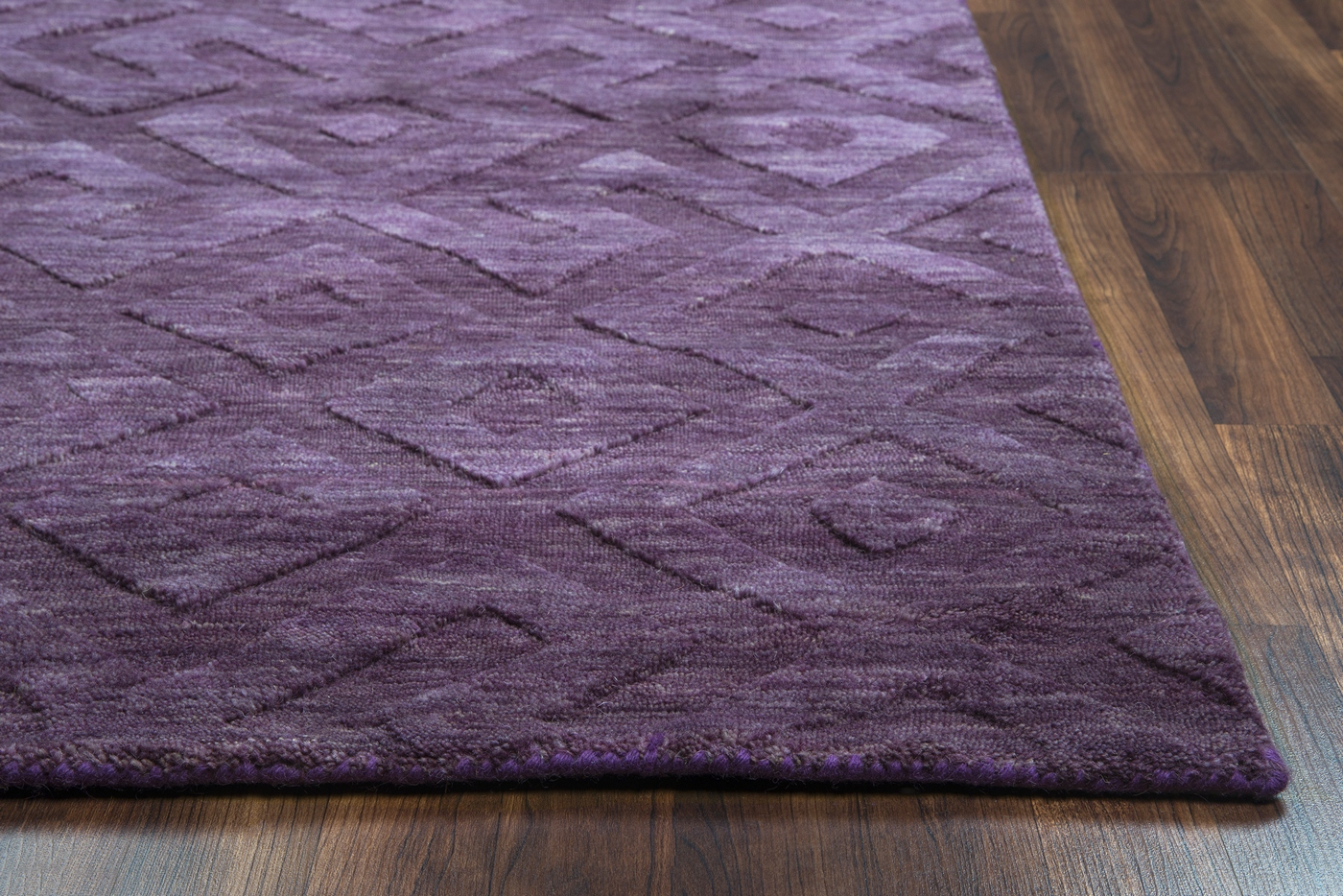 Technique Faded Greek Key Wool Area Rug In Purple, 9' X 12