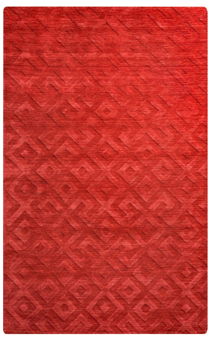 Technique Faded Greek Key Wool Area Rug In Red 9 X 12
