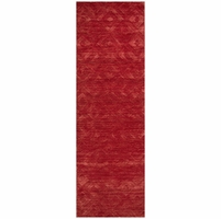 """Rizzy Home New Technique Wool Rectangle Runner Area Rug 2'6""""x 8' Feet Red Solid"""
