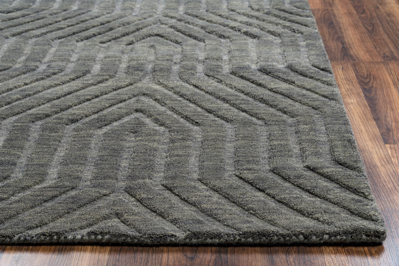 Technique Faded Ornamental Wool Round Rug In Amp Dark Gray