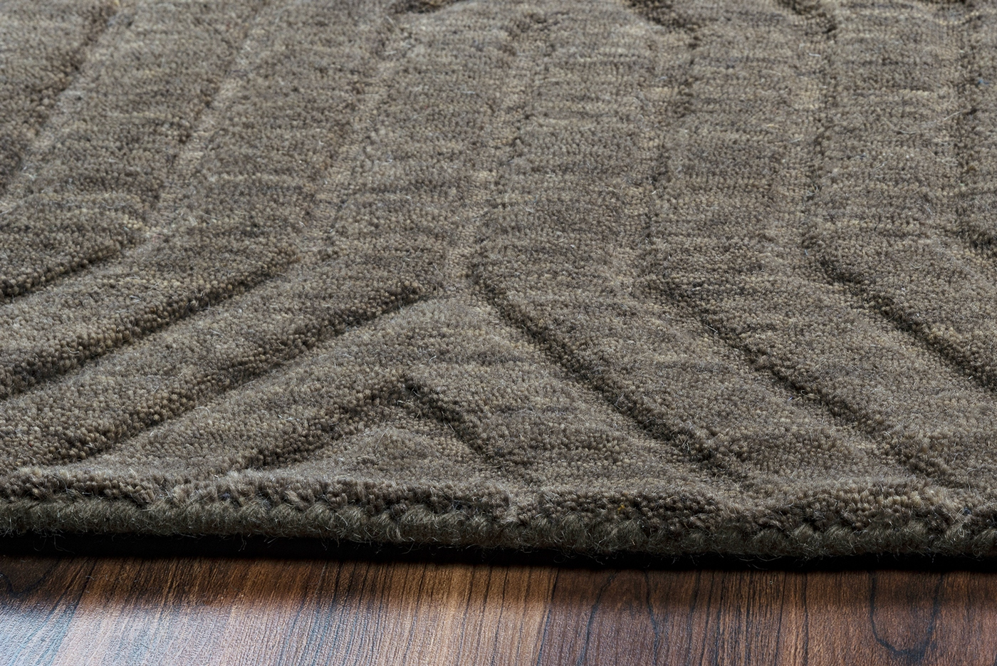 Technique Faded Ornamental Wool Area Rug In Amp Dark Taupe