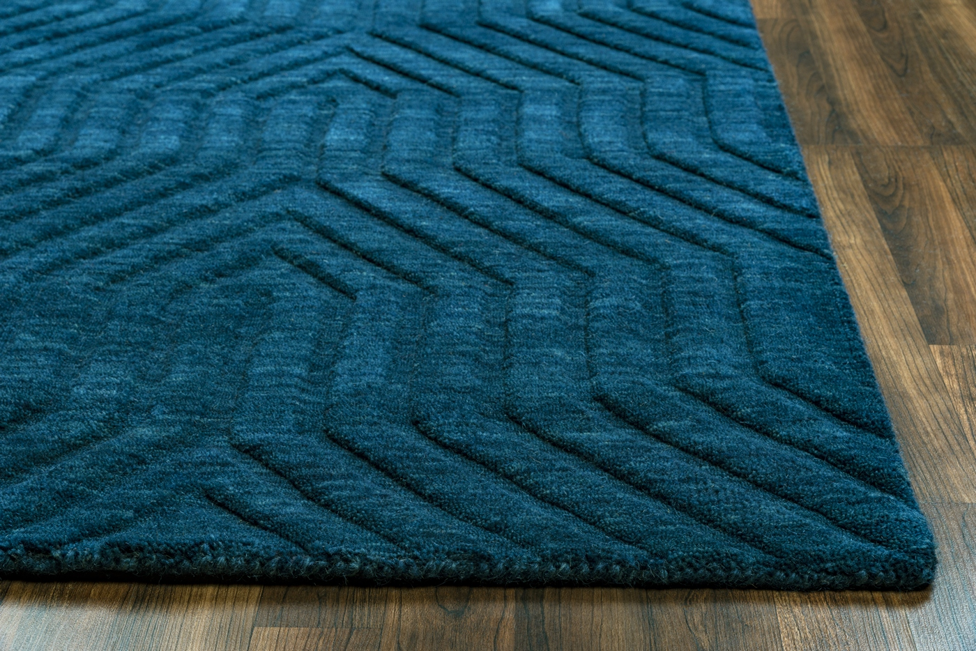 Technique Faded Ornamental Wool Area Rug In Navy 5 X 8