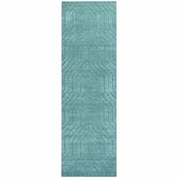 """Home Technique Wool Rectangle Runner Area Rug 2'6""""x 8'Dark Blue Teal Green Solid"""