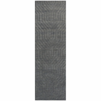 """Rizzy Home New Technique Wool Rectangle Runner Area Rug 2'6""""x 8'Dark Grey Solid"""